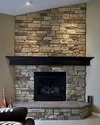 stone fireplace with wood mantle - Google Search