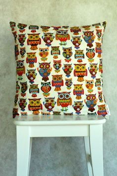 "Flower Child Hoot Cushion/Pillow Cover 18"" (46 cm) $25"
