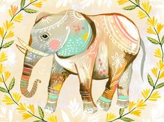Wild Flower Elephant - Canvas Wall Art, Framed Art Print, or Decal Poster $20 - $199 by Katie Daisy
