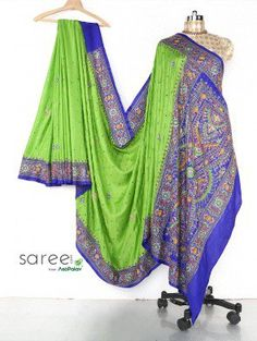 Light Green and Blue Gaji Silk Saree with Mirror and Pearl Work