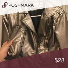 Faux leather jacket Goldish/bronze faux leather jacket size medium. This jacket has front pockets and and zippers at both wrists. Only worn once, in perfect condition. raison d'etre Jackets & Coats Utility Jackets