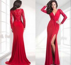 Fashion Mermaid V Neck Court Train Zipper Prom Dresses Chiffon Evening Dress Long Grasp Fold Lace Long Sleeve Bridal Wedding Dress