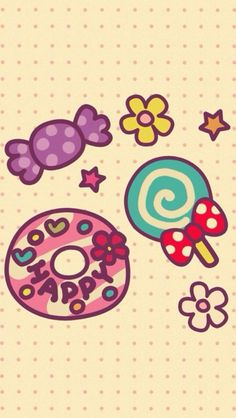 ✿Cute Candy iPhone Wallpaper.
