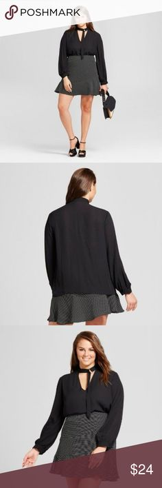 New WWW Black Drapery Choker Cutout Blouse [B5] The tailored detail of the moment: a built-in neck accent defines the Drapey Choker Blouse - Who What Wear. A close-cut accent adds elegant length to your neck and draws attention to your face, while the simple style of the blouse balances the trendy touch with classic lines. A must for giving 9-to-5 looks a right-now update. Silky drape from airy woven fabric.  size X new without tags color: black  @cjrose25 Who What Wear Tops Blouses