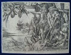 Original copper engraving from 1554, by the German artist Aldegrever, Heinrich ( 1502 Paderborn - died between 1555-1561 Soest). Devils taking the rich man to hell.