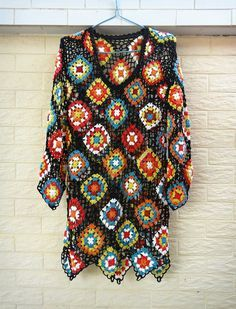 granny square crochet dress long sleeves