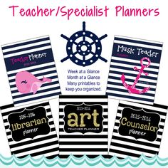 Nautical Planners for 2015-2016.  Includes Binder Cover Binder Spine Label Binder Back Page with inspirational quote Daily Schedule Important Information Sheet Year at a Glance Week at a Glance Month at a Glance - two page spreads (12) To do list Birthdays Password Keeper Calendar of Events Log Favorite websites list Notes and much more