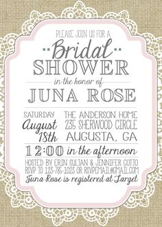 Burlap And Lace Vintage Bridal Showerbaby Shower Inviation Invitation Templates Free 736x1030 Pearl