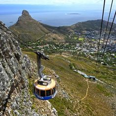 The cable car going up Table Mountain