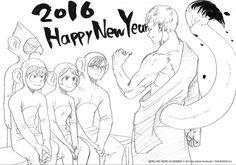 """""""…les auteurs de """"Barakamon"""", de """"My Hero Academia"""", du """"Requiem du Roi des Roses"""", de """"Roji"""" et de """"Pandemonium"""" vous souhaitent tous, chacun dans son style, une bonne année 2016 sous le signe du singe !"""" Ki-oon"""