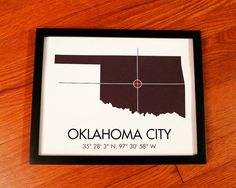 Oklahoma City Latitude Longitude Map Art City by MrCityPrinting, $25.00