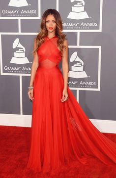 Rihanna Stunning at the Grammy Awards 2013 in Custom Azzedine Alaia Vibrant Red Dress.