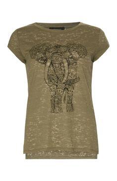 Primark - Kaki T-shirt met opdruk olifant