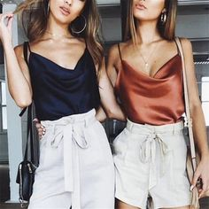 Satin Women Thin Wild Solid Camis Vest Women Tank Tops Female 2019 Summer Sexy Strap Basic Tops Chiffon Sleeveless Camisole - Miss. Cami Tops, Satin Tank Top, Summer Tank Tops, Long Sleeve Bodysuit, Lace Bodysuit, Cardigans For Women, Chiffon Tops, Camisole Top, Blouses