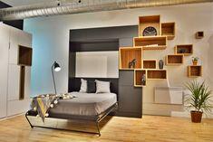 lit mural de style dégagé, moderne et original. Guest Room, Shelving, Entryway, Floor Plans, Flooring, Mansions, How To Plan, Furniture, Home Decor