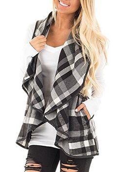 SENSERISE Women's Color Block Lapel Open Front Sleeveless Plaid Vest Cardigan with Pockets Features:  This Trendy Women's Plaid Vest for fall,spring or early winter. Classic Plaids, Irregular Hem, Sleeveless. Soft, Comfy and easy to wear with your favorite pants, skirt, leggings or...  More details at https://jackets-lovers.bestselleroutlets.com/ladies-coats-jackets-vests/wool-pea-coats/product-review-for-senserise-womens-lapel-open-front-sleeveless-plaid-vest-car