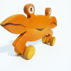 Wooden toy orange crab by Wheelsandpaintings on Etsy, $34.00