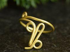 Capricorn Ring Zodiac Ring Zodiac Jewelry by AtelierWhiteMouse
