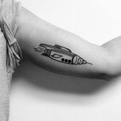 Rocket Ship  Tattooed by Noelle LaMonica Divine Machine Tattoo - Buffalo NY