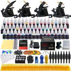 Beginner Starter Complete Tattoo Kit Professional Tattoo Machine Kit Rotary Machine Guns 54 Inks Power Supply Grips Set  TK457