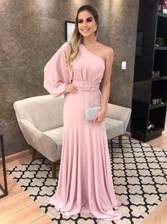 One Shoulder Chiffon Charming Evening Dress, Long Prom Dress CR 2477 Dresses Uk, Evening Dresses, Prom Dresses, Formal Dresses, Dress Prom, Dress Long, Chiffon Dress, Make Color, Diy Dress