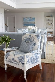 Project Reveal: A Picture-Perfect Beach House - Elements of Style Blue Rooms, Cottage Living, Coastal Cottage, Coastal Decor, Cottage Style, Beach House Decor, Beach Houses, White Decor, Home Decor Trends