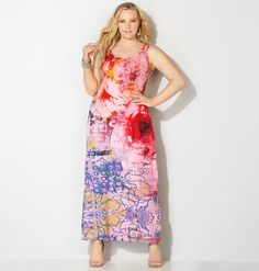 Try an abstract take on spring florals with our new plus size Abstract Floral Maxi Dress available in sizes 14-32 online at avenue.com. Avenue Store
