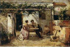 """Wssel de Guimbarda, 1.895 """"Bajo la parra"""" Óleo sobre tabla 18x26 cm.  Colección particular Tobarra. Murcia."""