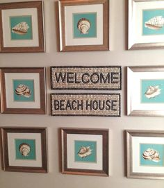 Gallery Wall with Framed Seashell Art and Welcome Sign in the Center at Sense Beach Hotel in Miami Beach.