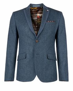 KAWECO - Contrast panel wool jacket - Blue | Men's | Ted Baker