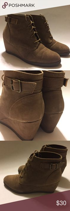 """Madden Girl Wedge Booties Suede Lace-up wedge boots. Taupe color. Madden Girl Daily Wedge Ankle Boot 2 1/2"""" heel. 75-16-11-08-30-25 Madden Girl Shoes Ankle Boots & Booties"""
