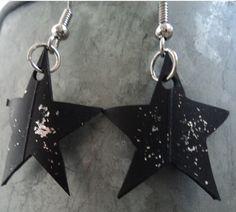 BO Etoiles effet pailleté - Rustines & Cie, bijoux en chambre à air