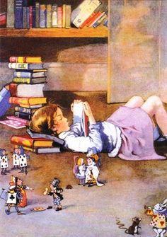 Reading Alice in Wonderland by Honor C Appleton Reading Art, Girl Reading, I Love Reading, Reading Books, I Love Books, Good Books, Books To Read, My Books, Grafiti
