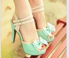 Mint Blue Cute Bow Heel Sandals from Unique Boutique on Storenvy
