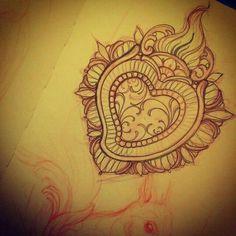 Miss Juliet Tattoos Mandala Tattoo Design, Heart Tattoo Designs, Love Tattoos, Body Art Tattoos, Sagrado Corazon Tattoo, Sarah Tattoo, Tattoo Tradicional, Sacred Heart Tattoos, Just Ink