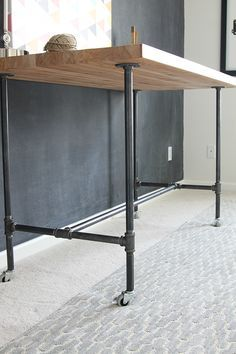 DIY Butcher Block and Pipe Workbench minus the wheels please
