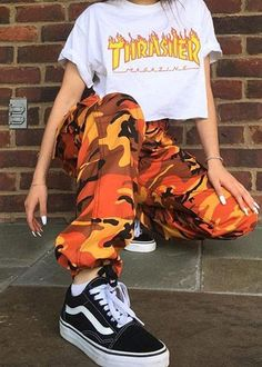 Special Price of Orange Camouflage Pants Women Sweatpants Purple Pink Camo Pants Pantalon Femme Trousers Cargo Harem Pantalones Mujer If You. Camo Outfits, Mode Outfits, Trendy Outfits, Girl Outfits, School Outfits, Summer Outfits, Army Pants Outfit, Military Pants, Military Army