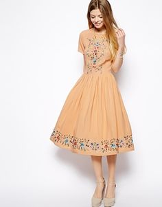Modest doesn't mean frumpy. Dressing with Dignity! http://amzn.to/1qeVHv9   Skater Dress With Pretty Embroidery