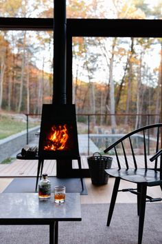 Shaker wood burning stove by Wittus – Fire by Design.  An optional upgrade from the Hudson Woods development.  Lang Architecture builds modern holiday homes in New York countryside