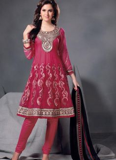 $84.61 Pink Full Sleeve Net Knee Length Anarkali Salwar Kameez 21275