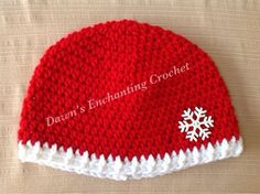 Crochet red and white snowflake hat