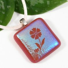 Pink Flower Fused Glass Pendant, Silver Blue Dichroic Glass Jewelry | ResetarGlassArt -  #AFPOUNCE