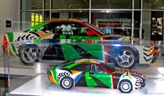 David Hockney's BMW Art Car (and model) at the Petersen Museum, photo ©laura l. sweet