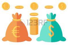 Monedas y dos sacos con signo de euro y pesos.