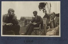 William Butler Yeats, Marc Allégret and André Gide. By Lady Ottoline Morrell Jules Verne, Albert Camus, Victor Hugo, Lady Ottoline, Lgbt, Literary Heroes, Alphonse Daudet, William Butler Yeats, Bloomsbury Group