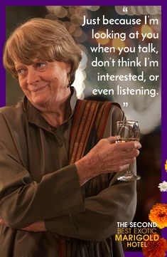 """Muriel (Dame Maggie Smith) is back and as witty as ever in """"The Second Best Exotic Marigold Hotel,"""" in theaters March 6th, 2015!  Click on the photo to buy tickets now!"""