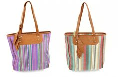 Only $12.99! | Canvas Stripe Tote - 5 Colors! | Find it now at www.groopdealz.com
