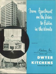 Dwyer kitchens, c. 1955.  From the Association for Preservation Technology (APT) - Building Technology Heritage Library, an online archive of period architectural trade catalogs.