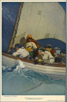 """""""Oh, Morgan's men are out for you.""""  Illustration by N.C. Wyeth for """"The Golden Galleon"""" by Paul Hervey Fox. Scribner's Magazine, August 1917."""