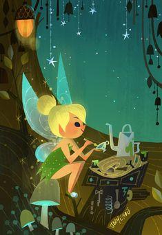 Tinkerbell by Joey Chou (Peter Pan) Disney Artwork, Disney Fan Art, Disney Drawings, Disney Love, Disney Magic, Disney Fairies, Disney And Dreamworks, Disney Pixar, Disney Cruise